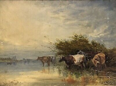F.E. HILL (BRITISH 19thC) FINE VICTORIAN OIL PAINTING - CATTLE WATERING 1880