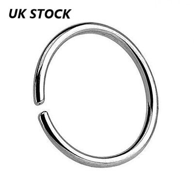 Solid 925 Sterling Silver Nose Ring Hoop Cartilage Tragus 0.8 mm thick Piercing