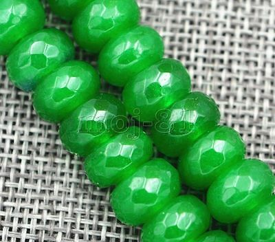 AAA 5x8mm Green Emerald Gemstone Roundel Loose Beads 15 Crafts