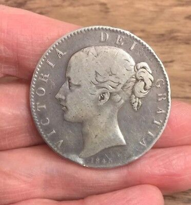 Victoria. Silver Crown. Young Head. Dated 1845. Cinquefoil Stops.
