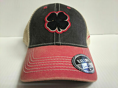 e6edbc4ccd9 Black Clover Cap Two Tone Vintage 4 Mesh Adjustable Black Golf Hat Live  Lucky