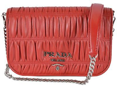 53c5f4ce1aaa New Prada 1BD137 Fuoco Red Pattina Ruched Leather Small Crossbody Purse  Handbag
