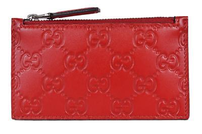 1973bcdc0c0c New Gucci 435366 Red Leather GG Guccissima Zip Top Slim Small Card Case  Wallet