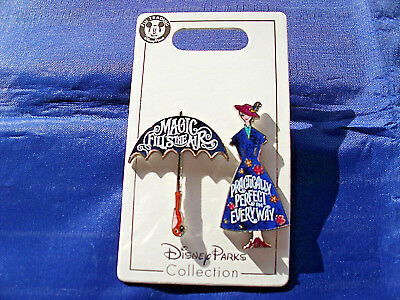 Disney * MARY POPPINS * Practically Perfect & Umbrella - New on Card 2 Pin Set
