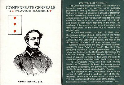 Confederate Generals Playing Cards Poker Size Deck USGS Custom New Civil War