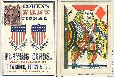 1863 Patent National Playing Cards Poker Size Deck USGS Custom Civil War New