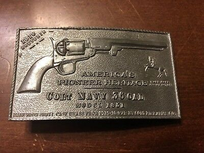 Vintage Colt Firearms Navy 36 Cal Brass Belt Buckle Rare