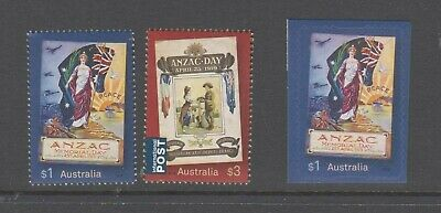 Australia 2019 Anzac Day mint unhinged set 2 sheet stamps + booklet stamp.