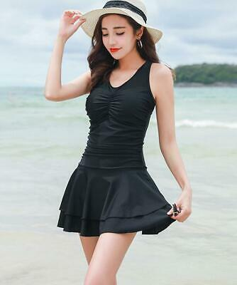 1653  Woman padded bra under wire Slim Swimdress pleated Hem M-2XL
