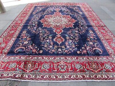Old Hand Made Traditional Persian Rug Oriental Wool Blue Large Carpet 388x301cm