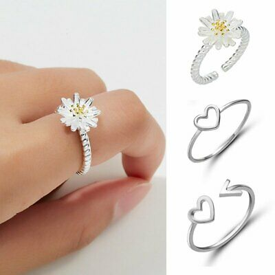 Women Engagement Wedding Jewellery 925 Silver Ocean Wave Fashion Ring Size 6-7