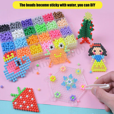 AU 2400Pcs 15 Color Water Sticky Refill Fuse Beads DIY Art Craft Kids puzzle Toy