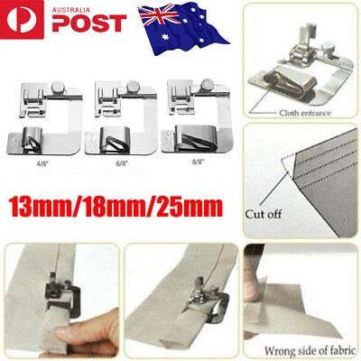 3pcs/Set Rolled Hem Foot Home Sewing Machine Hemming Cloth Strip Presser Feet CO
