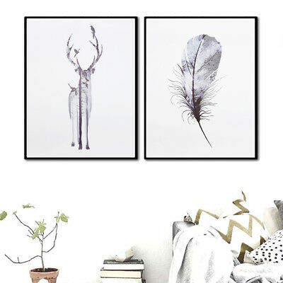 Deer Feather Abstract Minimalist Nordic Home Wall Art Canvas Poster Paintings