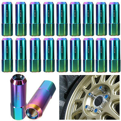 20Pcs Neo Chrome 60Mm Aluminum Extended Tuner Lug Nuts For Wheels/Rims M12X1.5