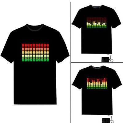 SOUND ACTIVATED MR DISC JOCKEY FLASHING LED T SHIRT XXL el HEN PARTY STAG UNISEX
