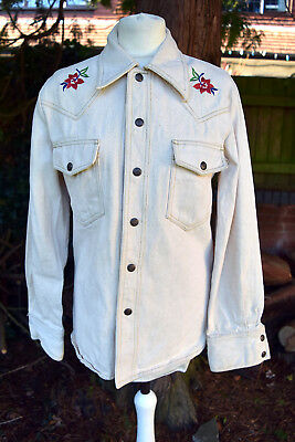 Vintage 1970s Unbleached Cotton Embroidered Trucker Dagger Collar Shirt Jacket