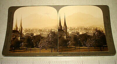 1903 American Stereoscopic Stereoview Card LUCERNE BY THE LAKE SWITZERLAND NR