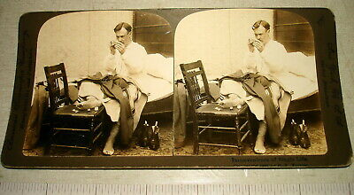 1897 American Stereoscopic Stereoview Card SINGLE MAN SEWING HUMOR NR