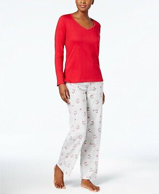 e9f92ada55cd Charter Club Women's Graphic Top Printed Pants Pajama Set Red Size L NEW $85