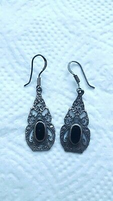 Beautiful Sterling Silver Ladies Dangle Earrings Black Stone Gothic Jewelry