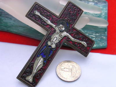 Antique Vintage  Religious Red enamel  Cross Jesus on the cross crucifixion