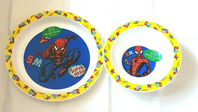 Spiderman  2 Piece Micro Safe Plate & Bowl Mealtime Set 6 Mths +New