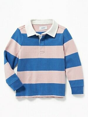 NWT OLD NAVY BOYS RUGBY POLO SHIRT TOP  pink blue stripe   4t