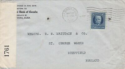 Wwi Cuba 1917 Opened By Censor Sealed Paper Label Cover Posted To England 2#227