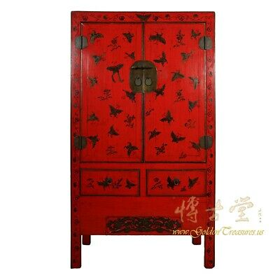 Antique Chinese Red Lacquered Gilt Butterfly Armoire