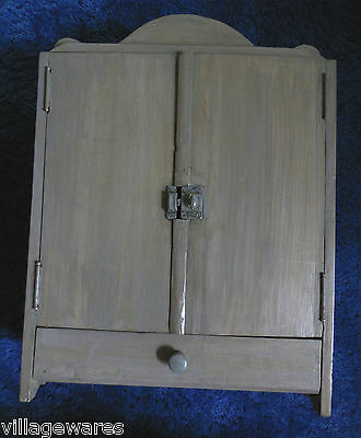 Vintage Hanging or Standing Grey Cupboard for Collectibles or Dolls Wardrobe