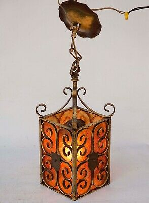 Vintage 'Spanish Revival'- Wrought iron- Pendant Lantern LAMP w/Mica 1920's