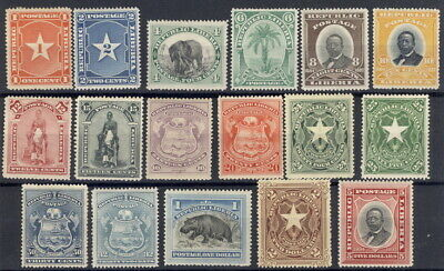 Liberia 1892-6, complete set of 17, $$ #33-49, hippo, elephant, Waterlow