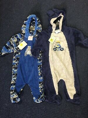 Boys Baby Size 9-12 Months 0 - 1 Outfits Rompers Zip Hooded x2 BNWT ExShopStock