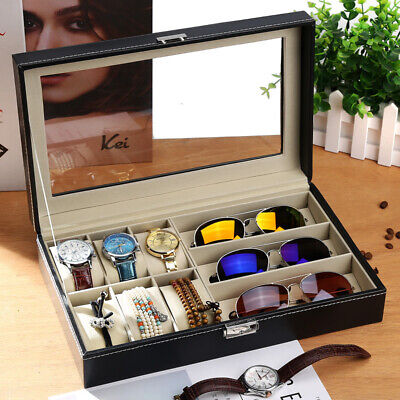 PU Leather Watch Display Case Jewelry Collection Storage Holder Box Gift 9 Grids