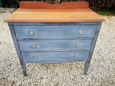 Antique Edwardian Solid Mahogany Chest Of Drawers In Graphite Annie Sloan