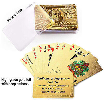 2 Pack 99.9% 24k Genuine Gold Plated Poker Playing Cards With Plastic Box