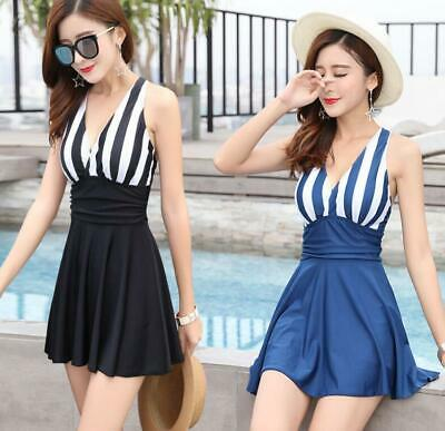 1643  Woman padded bra UNDER Wire V-neck Slim Fit Flare Swimdress Swimwear 3XL