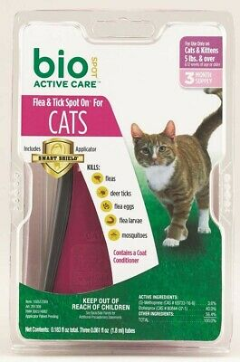 Bio Spot Active Care Flea and Tick Spot On | For Cats 5+ lbs | 3 Month Supply