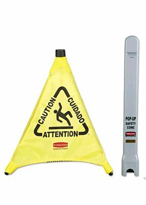 Rubbermaid Caution Wet Floor Sign - Yellow Safety Pop Up Cone -Multilingual 50cm