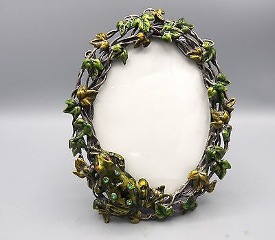 "Tree Frog Picture Frame Enamel Metal Vines Rhinestones 3.5"" by 5"" Photo"
