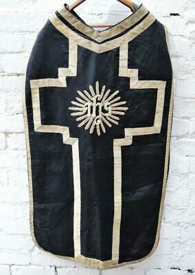 ANTIQUE 19thC FRENCH CHURCH CATHOLIC PRIEST ECCLESIASTICAL VESTMENT CHASUBLE