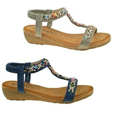 68a6c3ea5e Ladies Cipriata Pewter Blue Jewelled Sling Back Low Wedge Heeled Sandals  L072 Kd