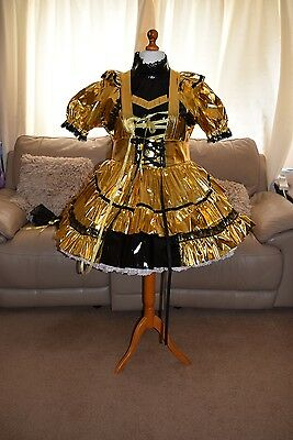 Amazing Gold PVC Adult Sissy Maids Dress With Gold Apron & black trim size xxl