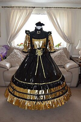 Amazing Long Gold PVC Sissy Maids Dress With Black Apron size xxl free petticoat