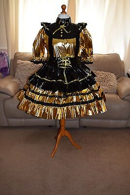 Amazing Gold PVC Adult Sissy Maids Dress With Black Apron size xxl