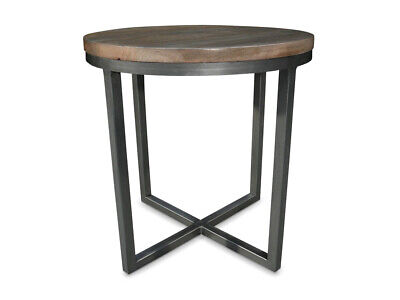 Rubix Mango Wood with Metal Frame Round Side Table