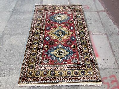 Antique Traditional Hand Made Caucasian Oriental Wool Red Rug 161x104cm