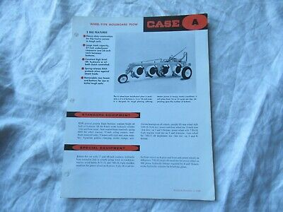 Case A wheel-type moldboard  plow specification sheet brochure