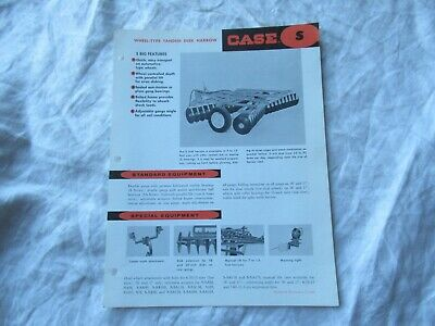 Case wheel-type tandem disk harrow plow specification sheet brochure